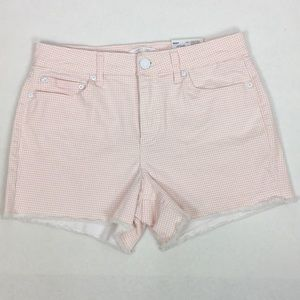 Lauren Conrad SZ 8 Mid Rise Fringed Shorts Checked